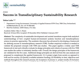 New Publication: Success in Transdisciplinary Sustainability Research