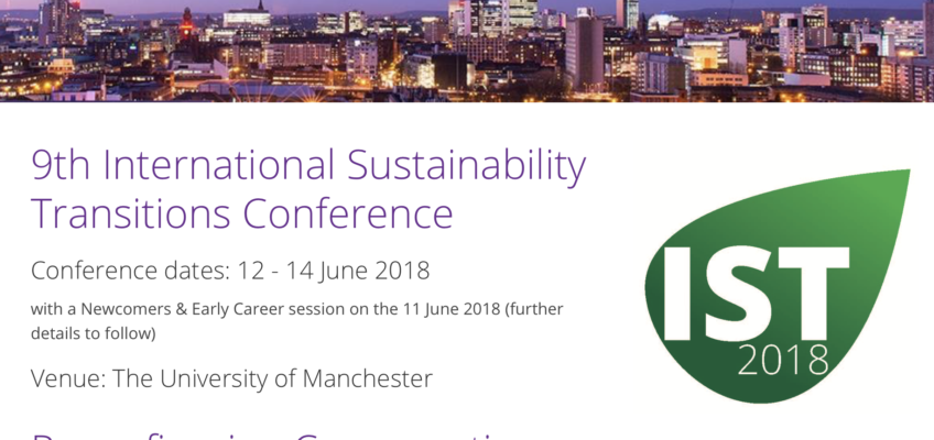Speaker at International Sustainability Transitions (IST2018) Conference