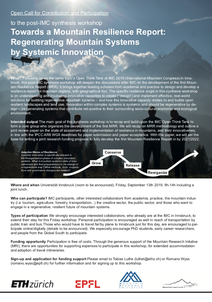 """Open Think Tank and Synthesis Workshop """"Mountain Resilience Report"""""""