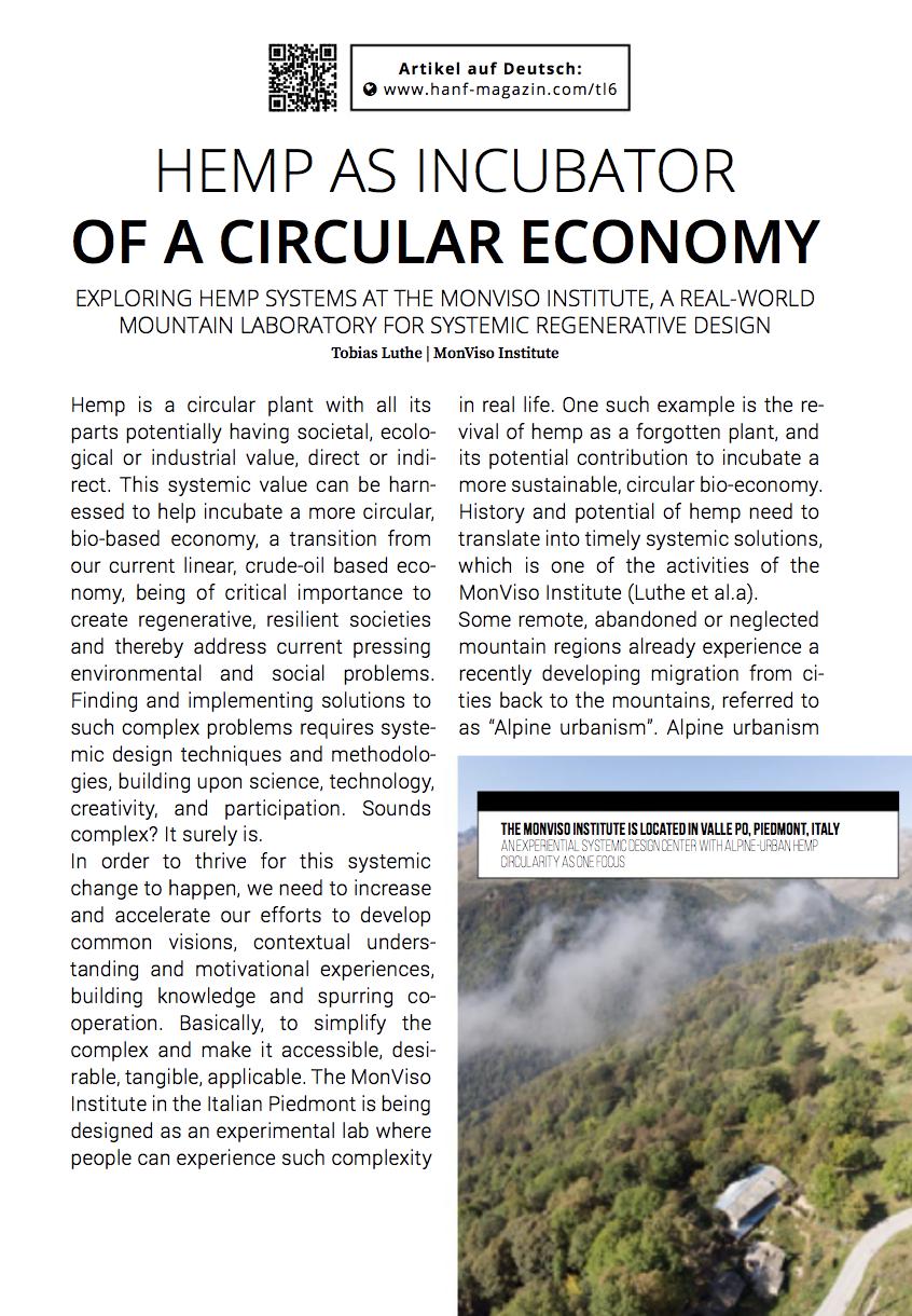 New publication: Hemp as Incubator of a Circular Economy