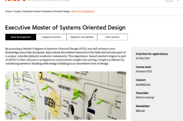 New part-time Master program in Systems Oriented Design